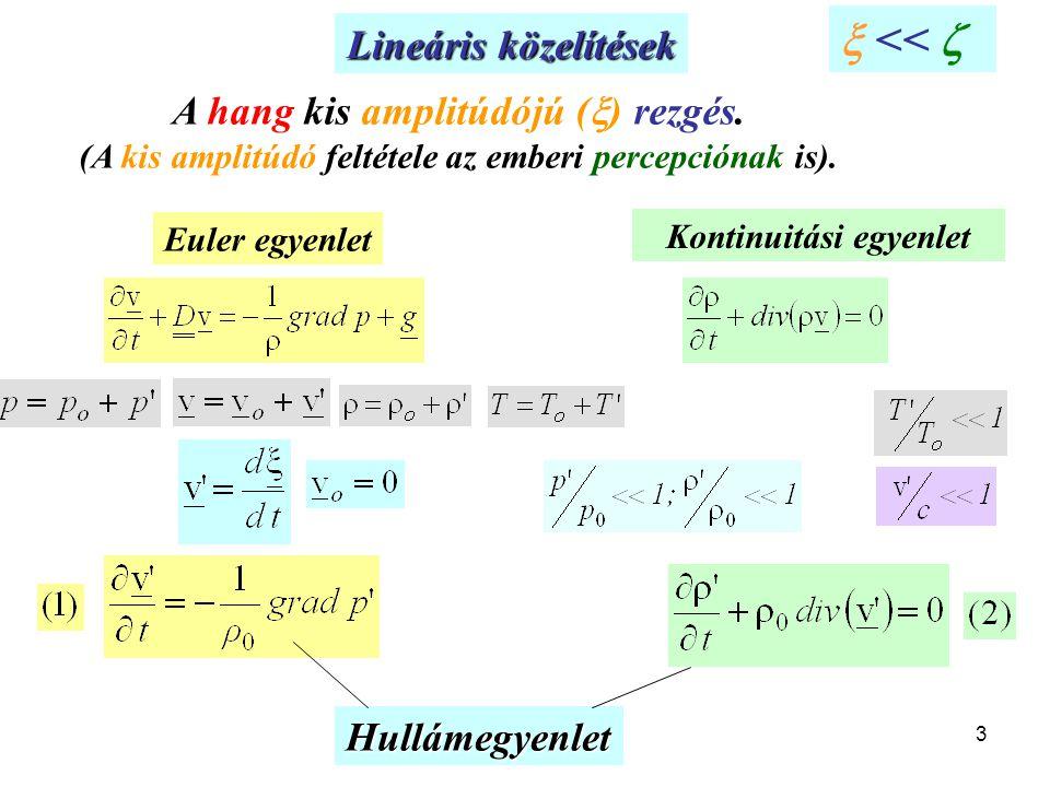  <<  Lineáris közelítések A hang kis amplitúdójú () rezgés.