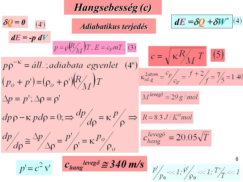 Hangsebesség (c) changlevegő  340 m/s dE =Q +W* Q = 0
