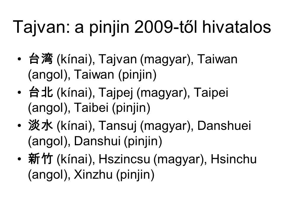 Tajvan: a pinjin 2009-től hivatalos