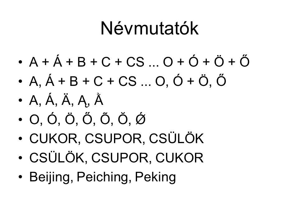 Névmutatók A + Á + B + C + CS ... O + Ó + Ö + Ő