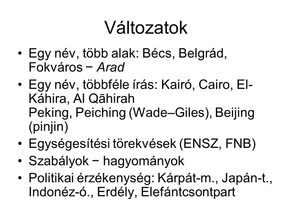 Változatok Egy név, több alak: Bécs, Belgrád, Fokváros − Arad