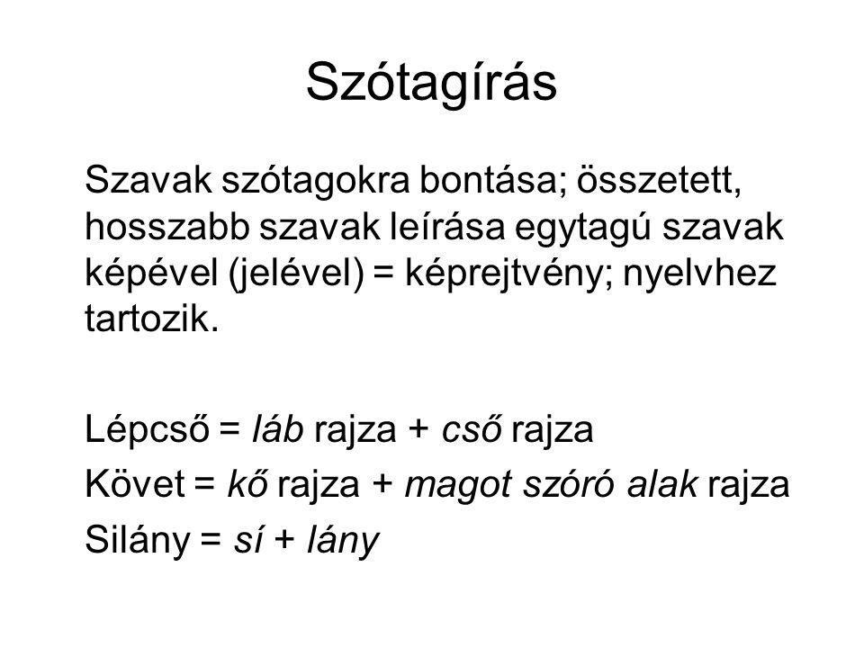 Szótagírás Szavak szótagokra bontása; összetett, hosszabb szavak leírása egytagú szavak képével (jelével) = képrejtvény; nyelvhez tartozik.