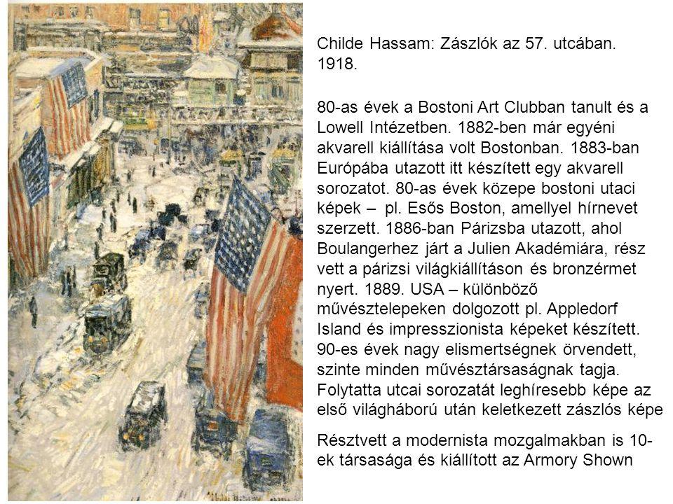 Childe Hassam: Zászlók az 57. utcában. 1918.