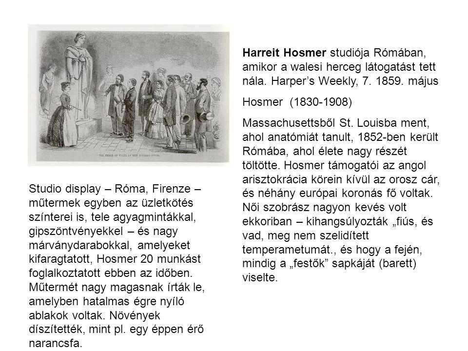 Harreit Hosmer studiója Rómában, amikor a walesi herceg látogatást tett nála. Harper's Weekly, 7. 1859. május