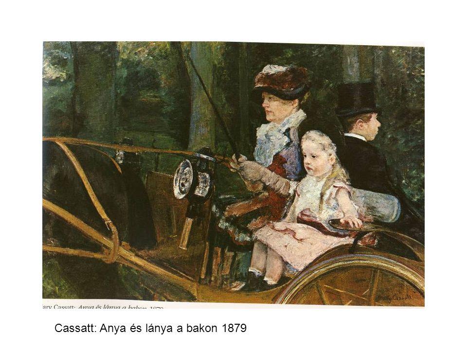 Cassatt: Anya és lánya a bakon 1879