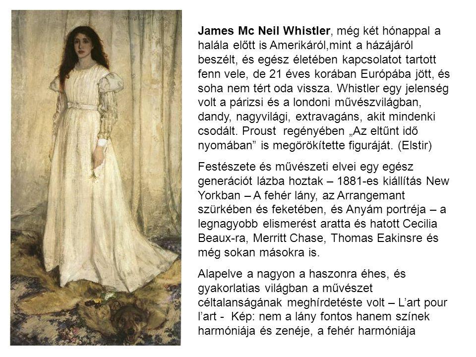"""James Mc Neil Whistler, még két hónappal a halála előtt is Amerikáról,mint a házájáról beszélt, és egész életében kapcsolatot tartott fenn vele, de 21 éves korában Európába jött, és soha nem tért oda vissza. Whistler egy jelenség volt a párizsi és a londoni művészvilágban, dandy, nagyvilági, extravagáns, akit mindenki csodált. Proust regényében """"Az eltűnt idő nyomában is megörökítette figuráját. (Elstir)"""