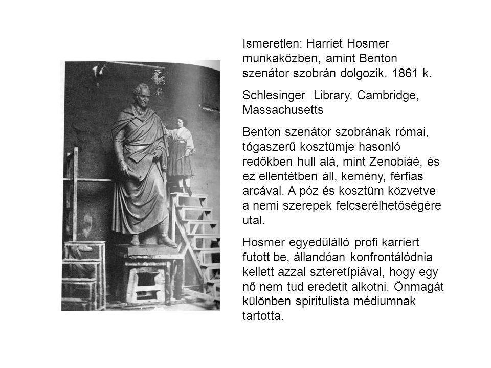 Ismeretlen: Harriet Hosmer munkaközben, amint Benton szenátor szobrán dolgozik. 1861 k.