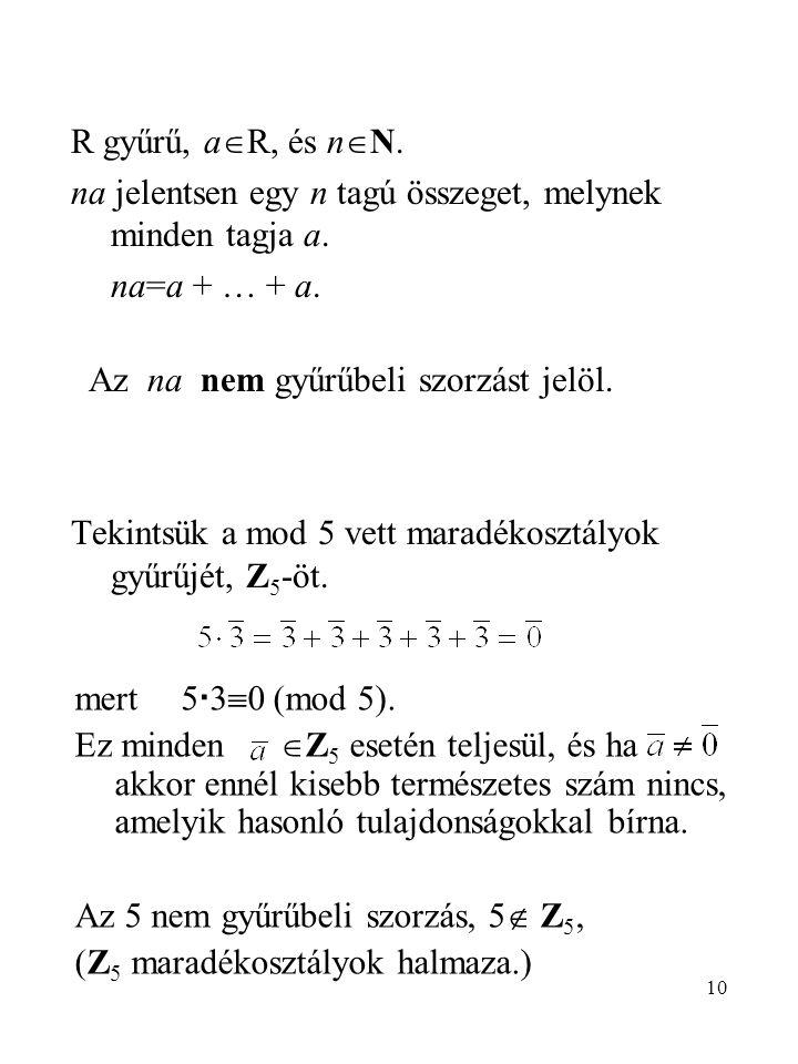 R gyűrű, aR, és nN. na jelentsen egy n tagú összeget, melynek minden tagja a. na=a + … + a. Az na nem gyűrűbeli szorzást jelöl.