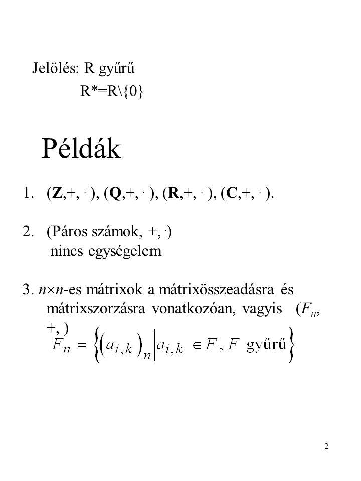 Példák Jelölés: R gyűrű R*=R\{0}