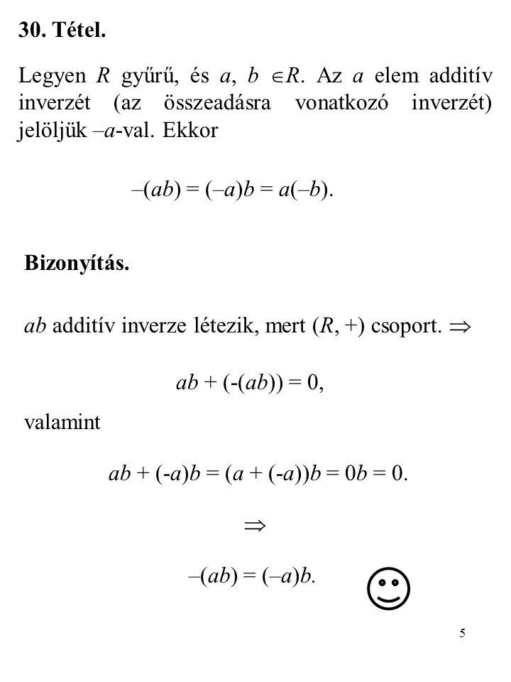 ab + (-a)b = (a + (-a))b = 0b = 0.