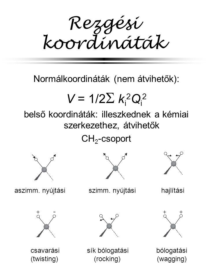 Rezgési koordináták V = 1/2 ki2Qi2 Normálkoordináták (nem átvihetők):