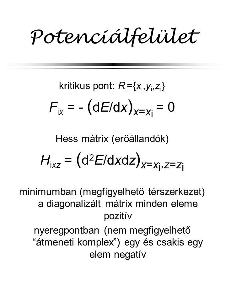 Potenciálfelület Fix = - (dE/dx)x=xi = 0 Hixz = (d2E/dxdz)x=xi,z=zi