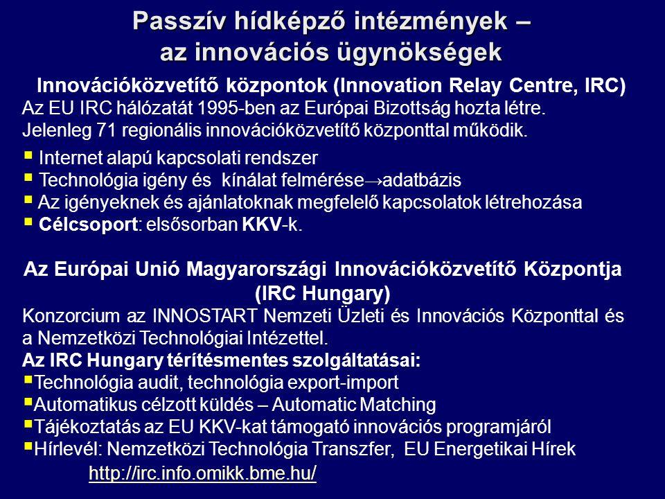 Passzív hídképző intézmények – az innovációs ügynökségek