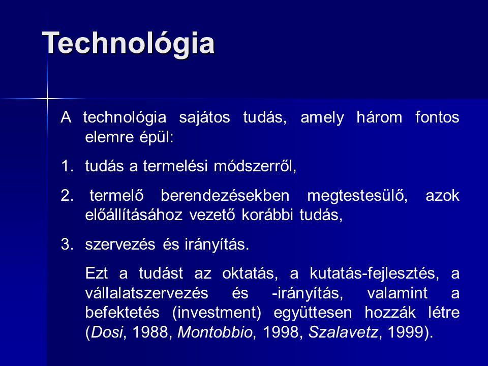 Technológia A technológia sajátos tudás, amely három fontos elemre épül: tudás a termelési módszerről,