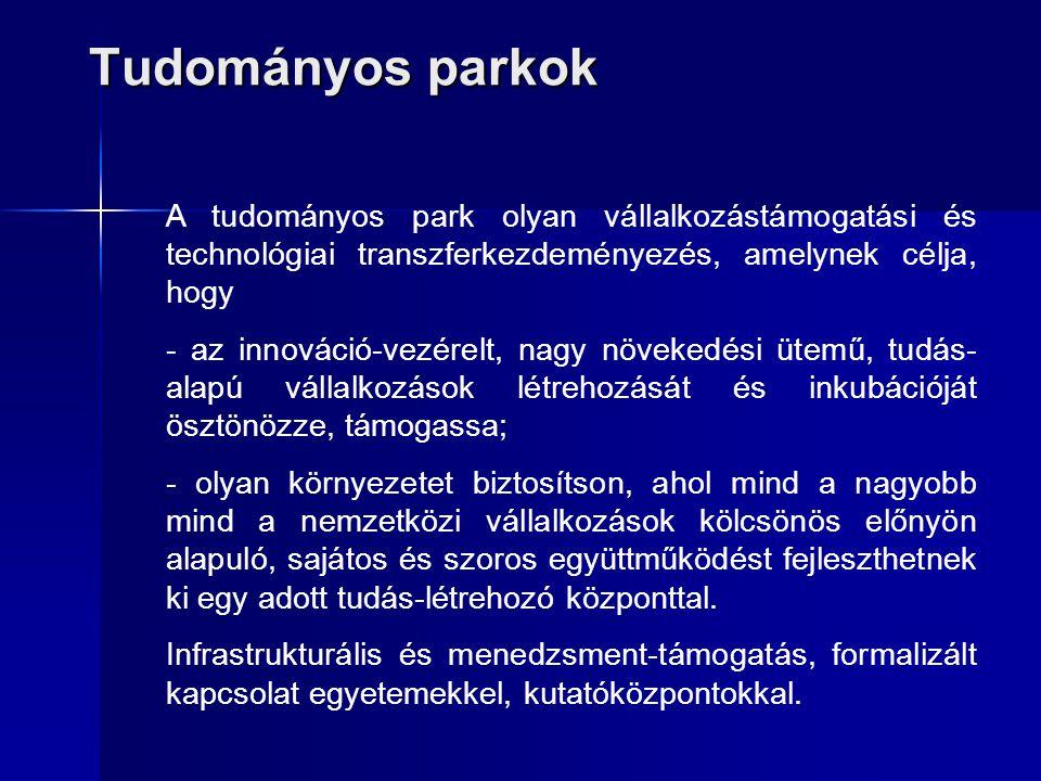 Tudományos parkok A tudományos park olyan vállalkozástámogatási és technológiai transzferkezdeményezés, amelynek célja, hogy.