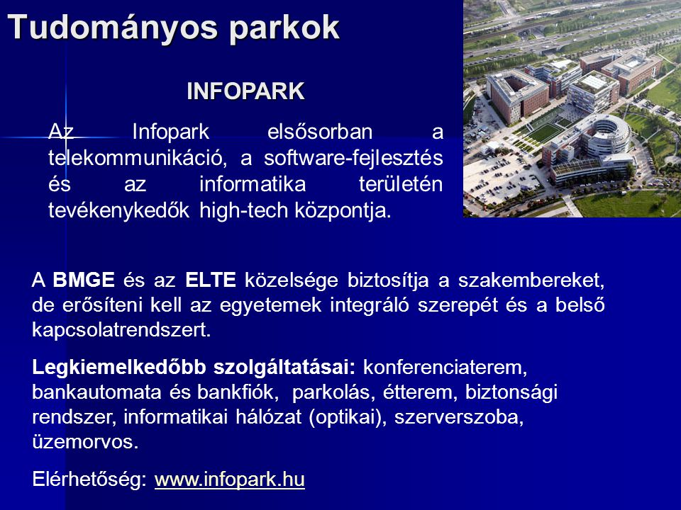Tudományos parkok INFOPARK