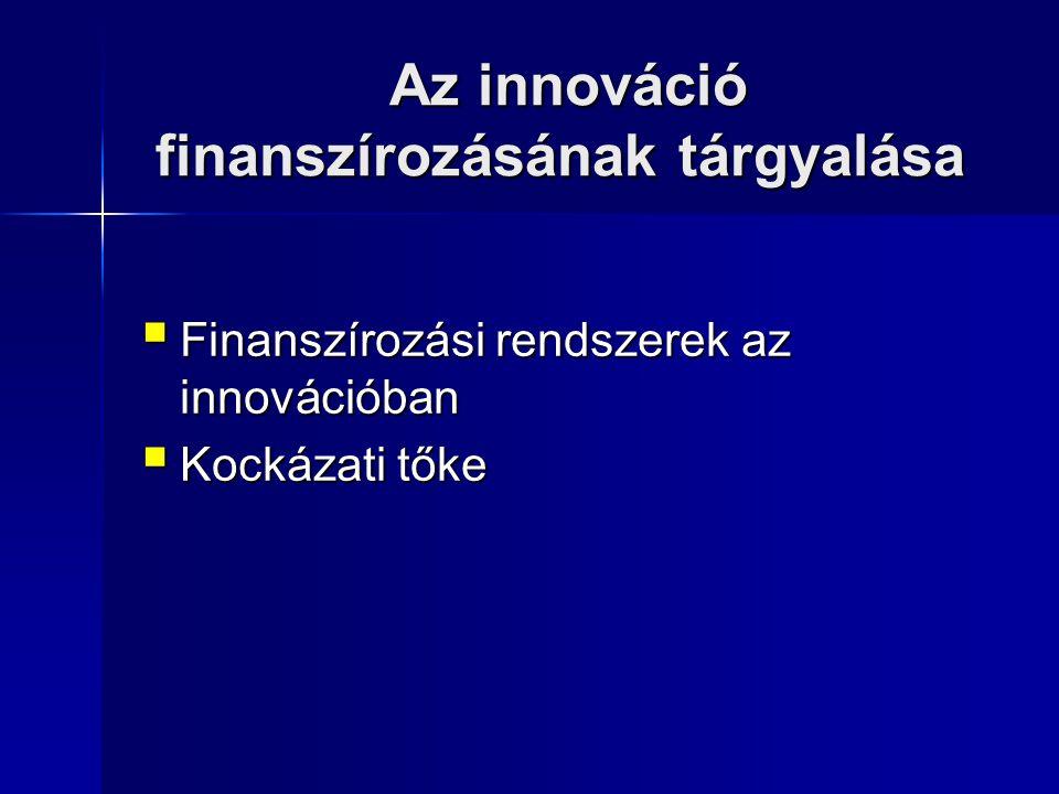 Az innováció finanszírozásának tárgyalása