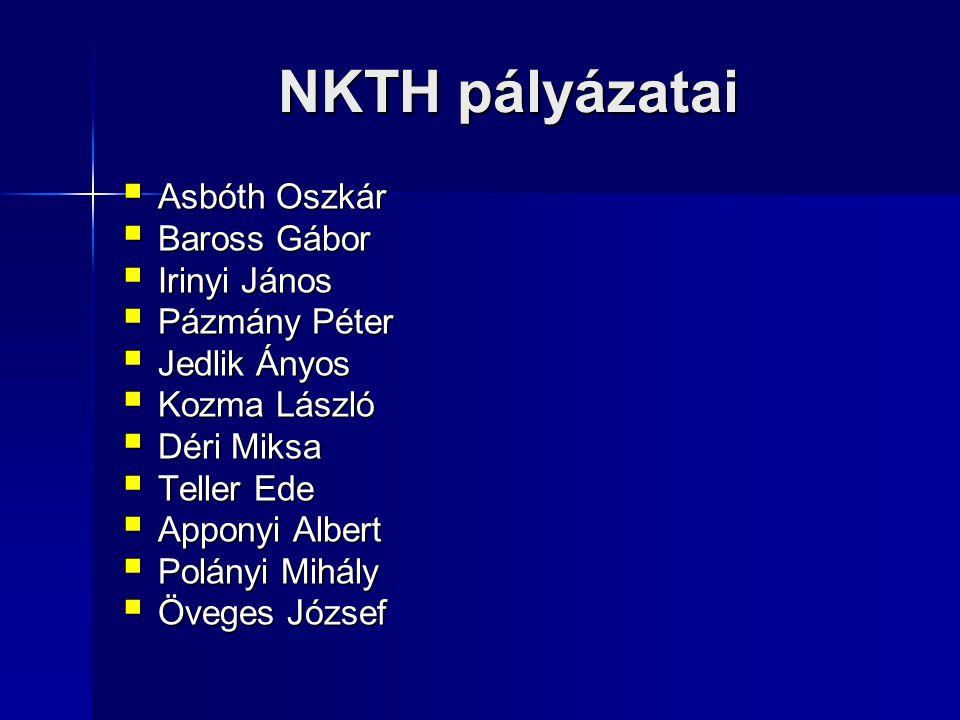 NKTH pályázatai Asbóth Oszkár Baross Gábor Irinyi János Pázmány Péter