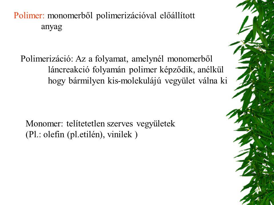 Polimer: monomerből polimerizációval előállított