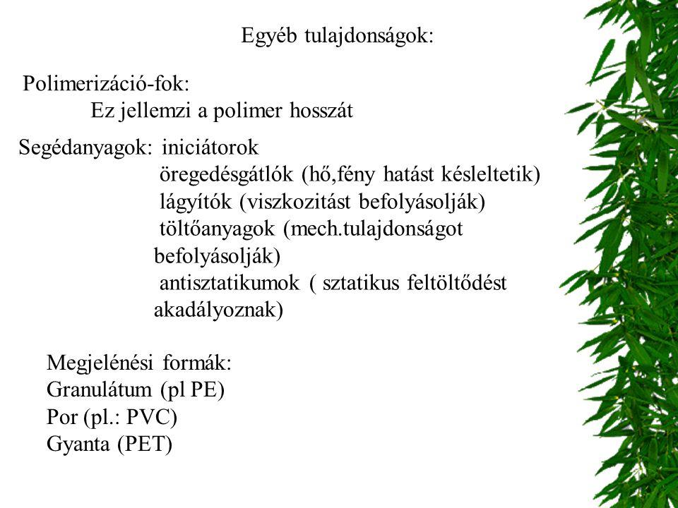 Egyéb tulajdonságok: Polimerizáció-fok: Ez jellemzi a polimer hosszát. Segédanyagok: iniciátorok.