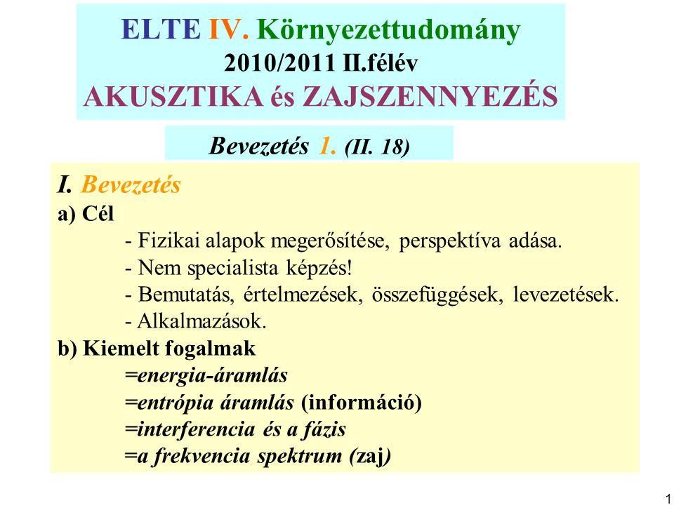 ELTE IV. Környezettudomány 2010/2011 II