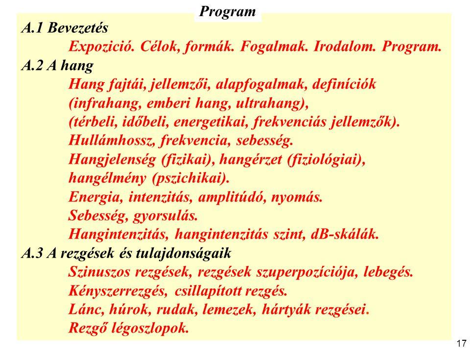 Program A.1 Bevezetés. Expozició. Célok, formák. Fogalmak. Irodalom. Program. A.2 A hang. Hang fajtái, jellemzői, alapfogalmak, definíciók.
