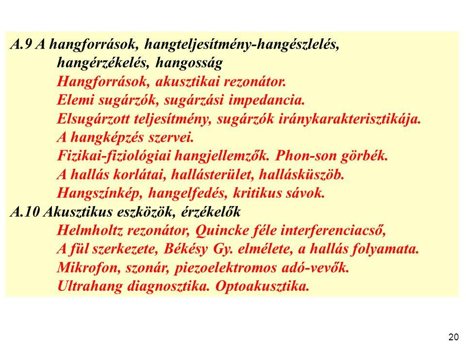 A.9 A hangforrások, hangteljesítmény-hangészlelés,