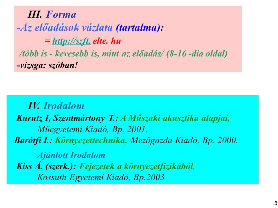 IV. Irodalom III. Forma -Az előadások vázlata (tartalma):