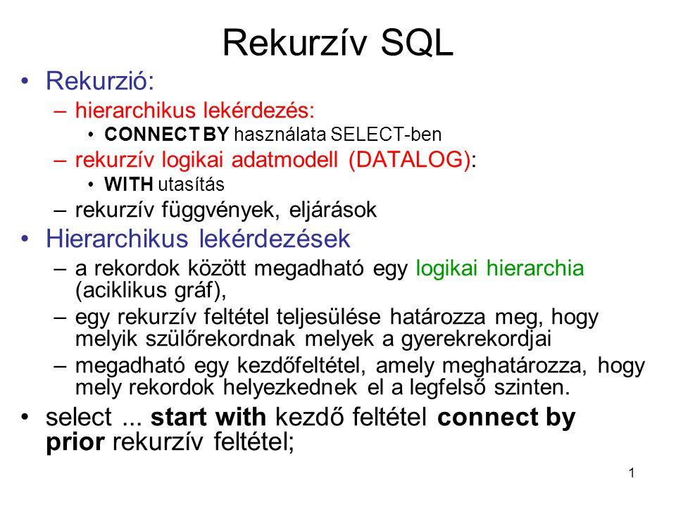 Rekurzív SQL Rekurzió: Hierarchikus lekérdezések
