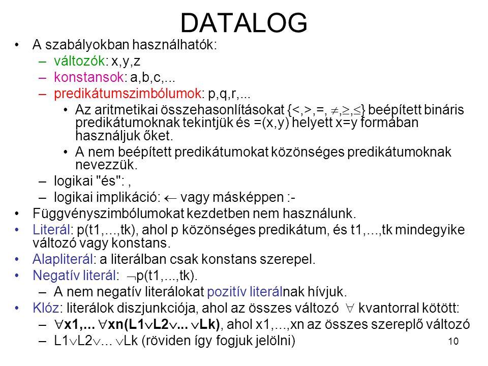 DATALOG A szabályokban használhatók: változók: x,y,z