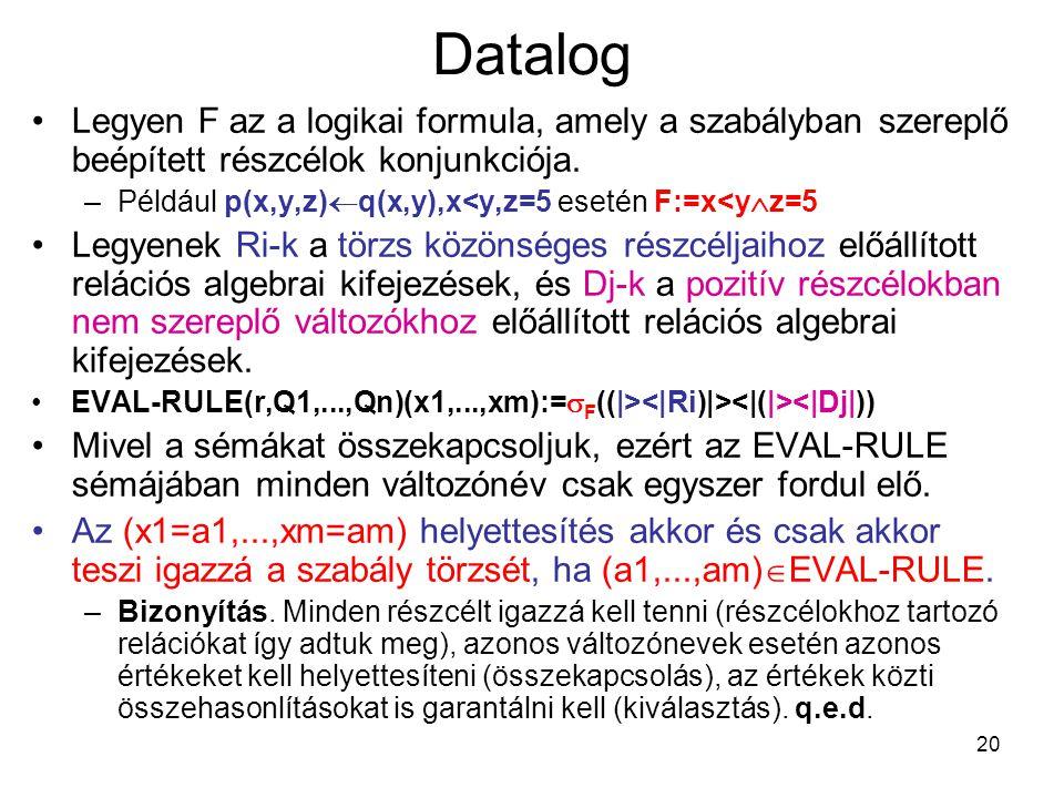 Datalog Legyen F az a logikai formula, amely a szabályban szereplő beépített részcélok konjunkciója.