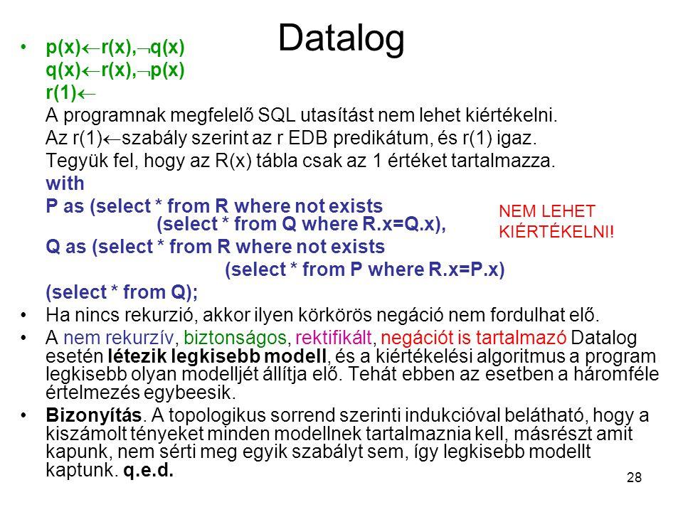 Datalog p(x)r(x),q(x) q(x)r(x),p(x) r(1)