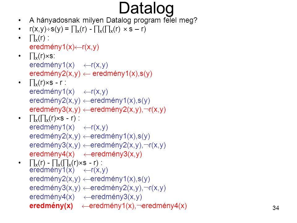Datalog A hányadosnak milyen Datalog program felel meg
