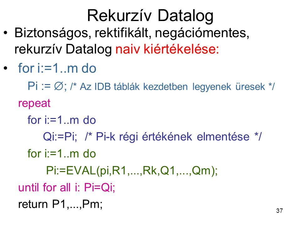Rekurzív Datalog Biztonságos, rektifikált, negációmentes, rekurzív Datalog naiv kiértékelése: for i:=1..m do.