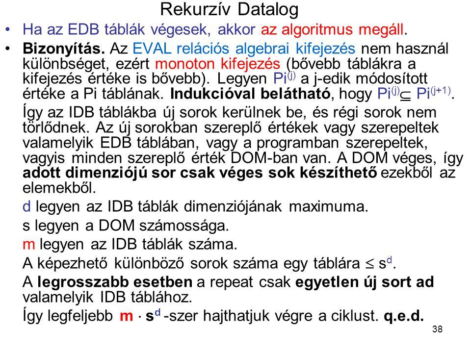 Rekurzív Datalog Ha az EDB táblák végesek, akkor az algoritmus megáll.