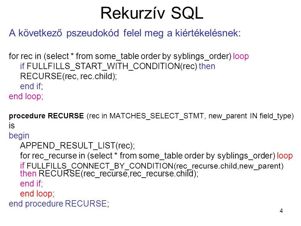Rekurzív SQL A következő pszeudokód felel meg a kiértékelésnek:
