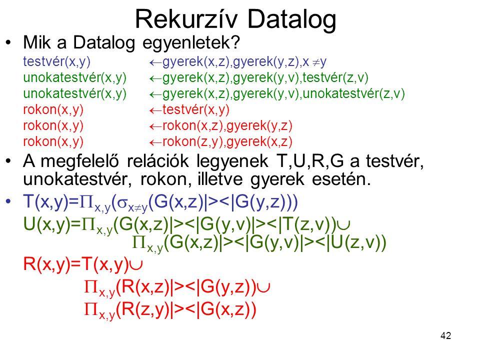 Rekurzív Datalog Mik a Datalog egyenletek