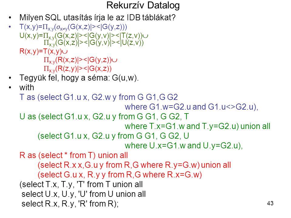Rekurzív Datalog Milyen SQL utasítás írja le az IDB táblákat