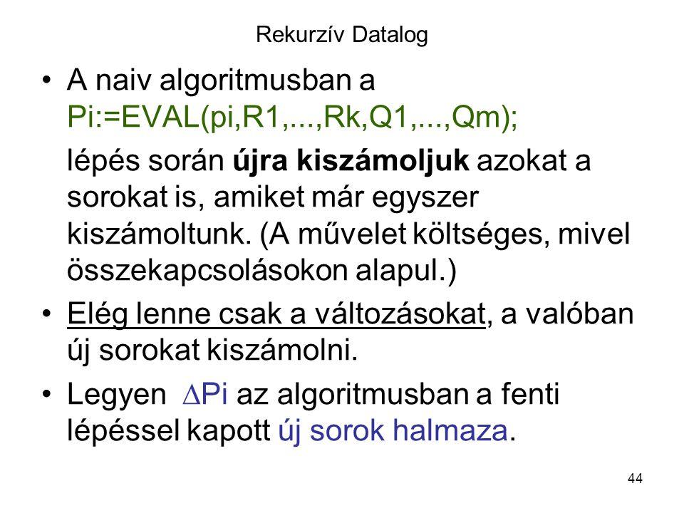 A naiv algoritmusban a Pi:=EVAL(pi,R1,...,Rk,Q1,...,Qm);