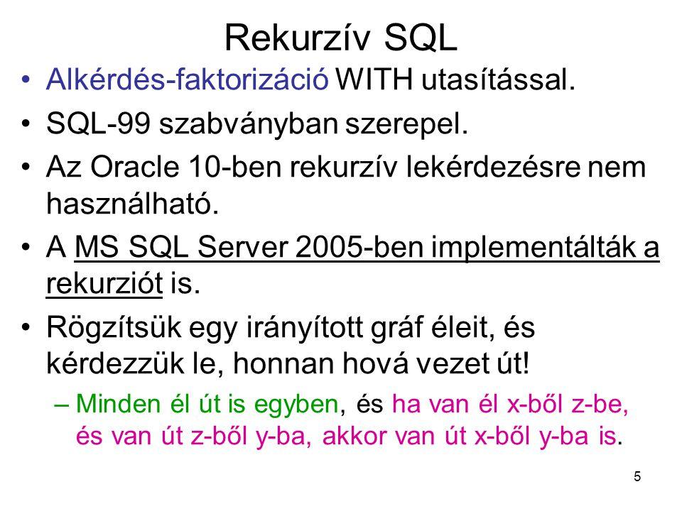 Rekurzív SQL Alkérdés-faktorizáció WITH utasítással.