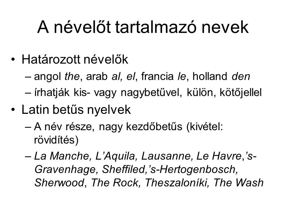 A névelőt tartalmazó nevek