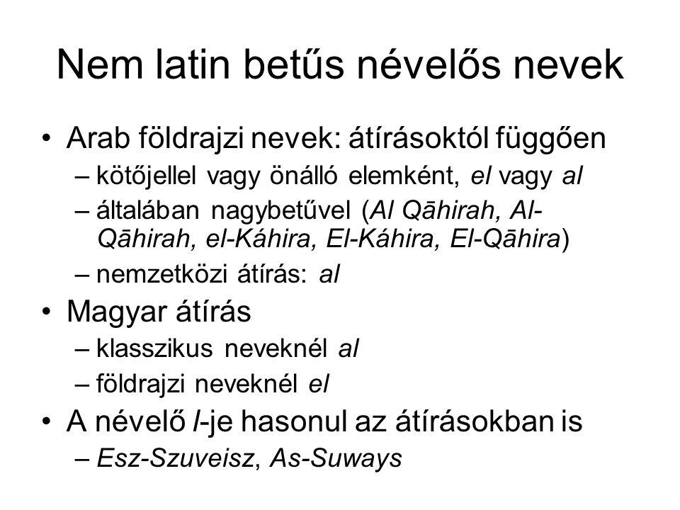 Nem latin betűs névelős nevek