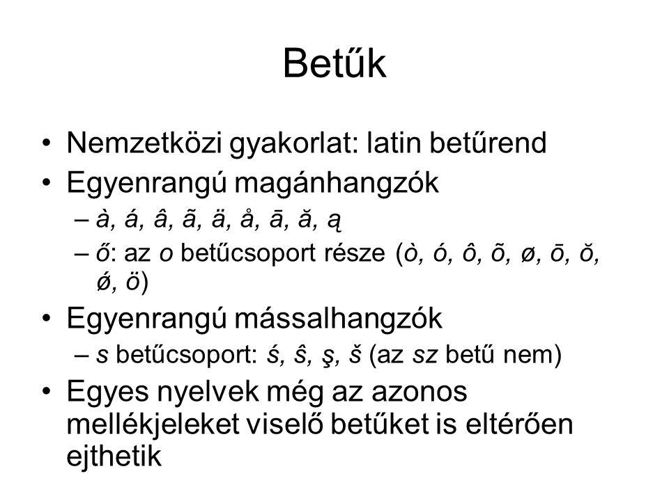 Betűk Nemzetközi gyakorlat: latin betűrend Egyenrangú magánhangzók