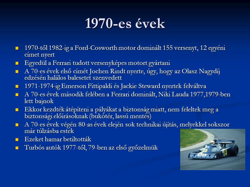 1970-es évek 1970-től 1982-ig a Ford-Cosworth motor dominált 155 versenyt, 12 egyéni címet nyert.