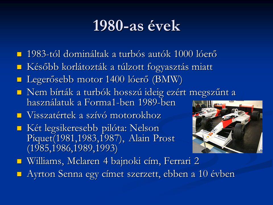 1980-as évek 1983-tól domináltak a turbós autók 1000 lóerő