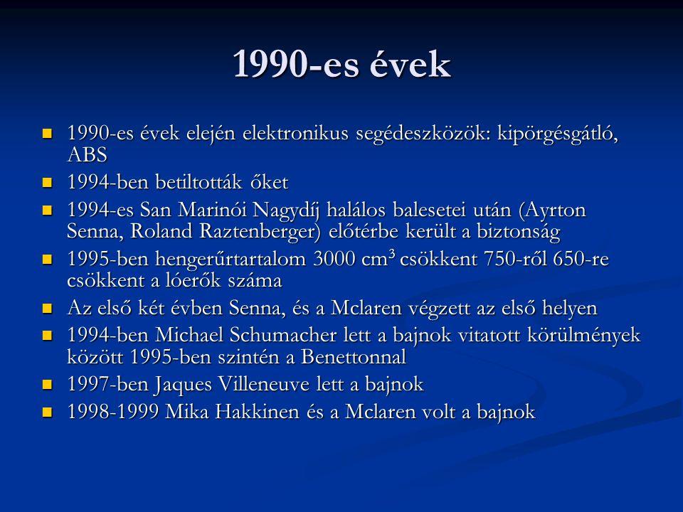 1990-es évek 1990-es évek elején elektronikus segédeszközök: kipörgésgátló, ABS. 1994-ben betiltották őket.