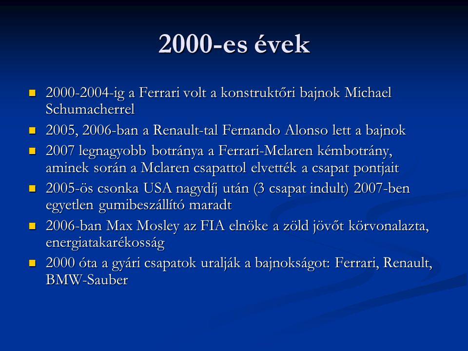 2000-es évek 2000-2004-ig a Ferrari volt a konstruktőri bajnok Michael Schumacherrel. 2005, 2006-ban a Renault-tal Fernando Alonso lett a bajnok.