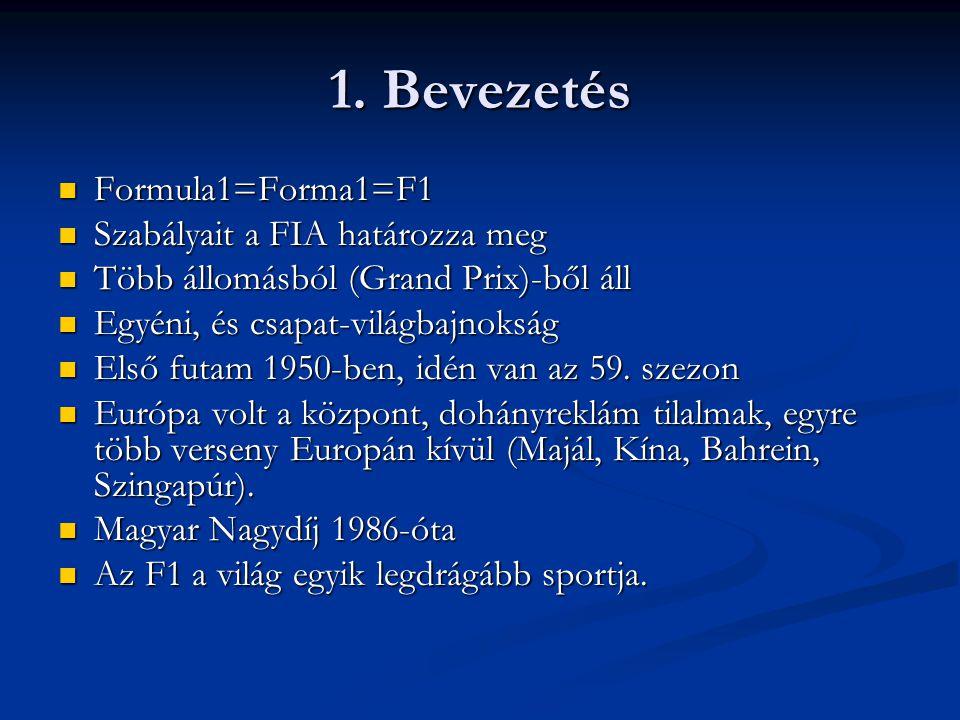 1. Bevezetés Formula1=Forma1=F1 Szabályait a FIA határozza meg