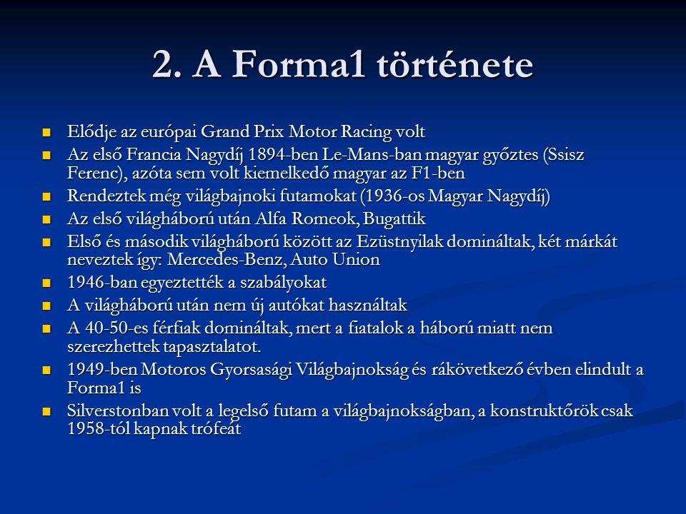 2. A Forma1 története Elődje az európai Grand Prix Motor Racing volt