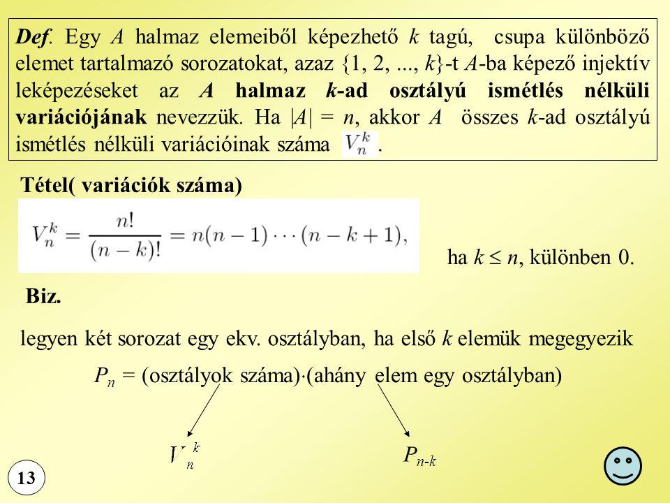 Tétel( variációk száma)